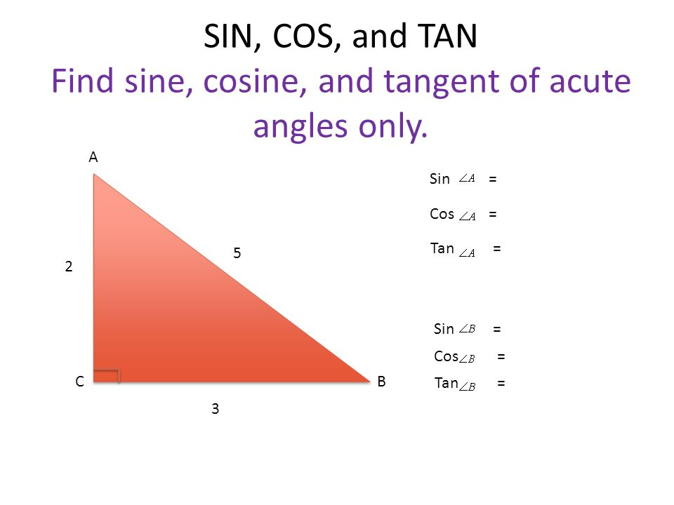 SIN, COS, and TAN Find sine, cosine, and tangent of acute angles only.