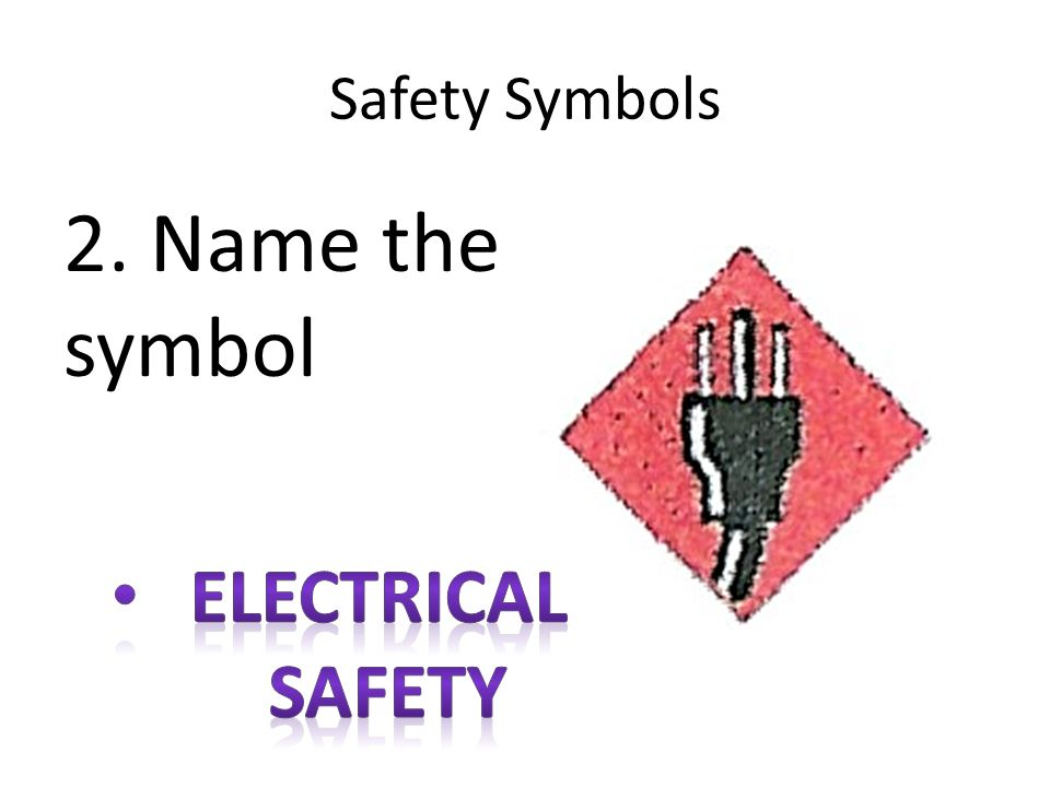 Safety Symbols 2. Name the symbol Electrical safety