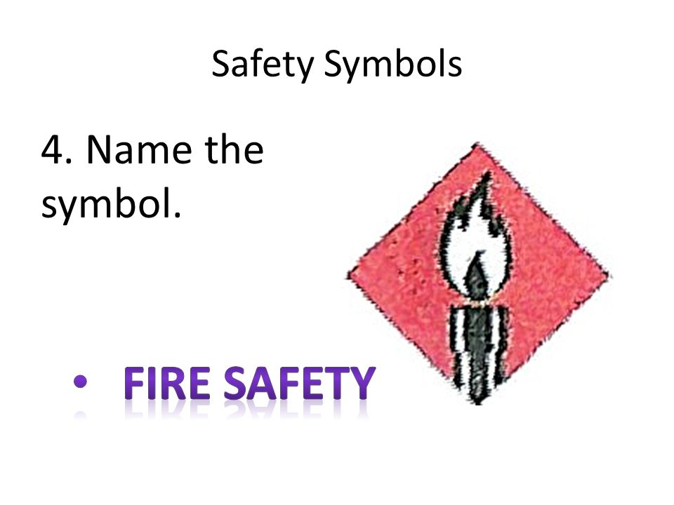 Safety Symbols 4. Name the symbol. Fire safety