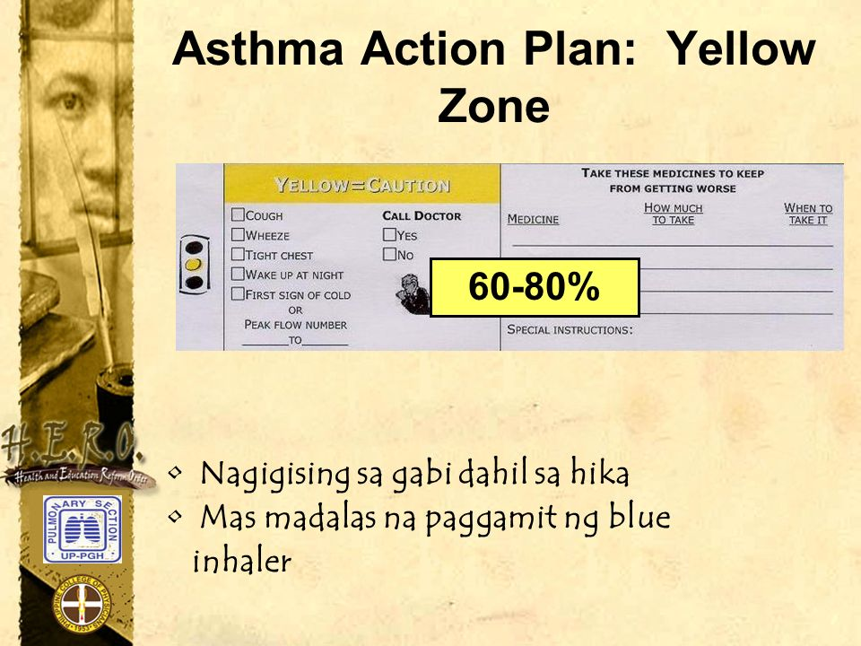Asthma Action Plan: Yellow Zone