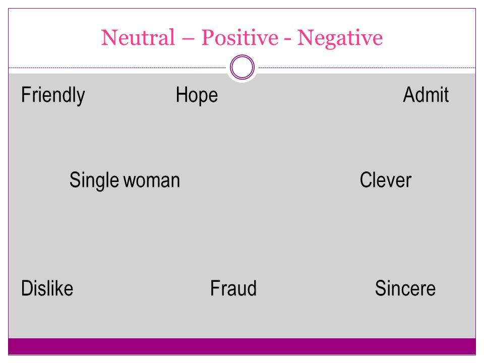 Neutral – Positive - Negative
