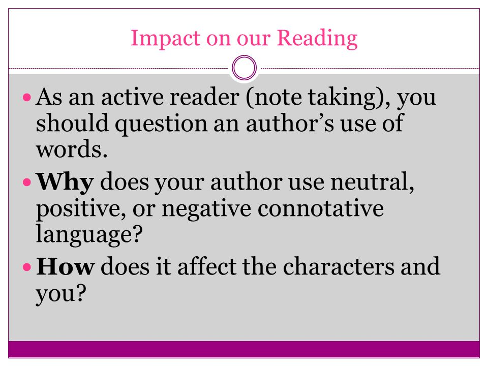 How does it affect the characters and you