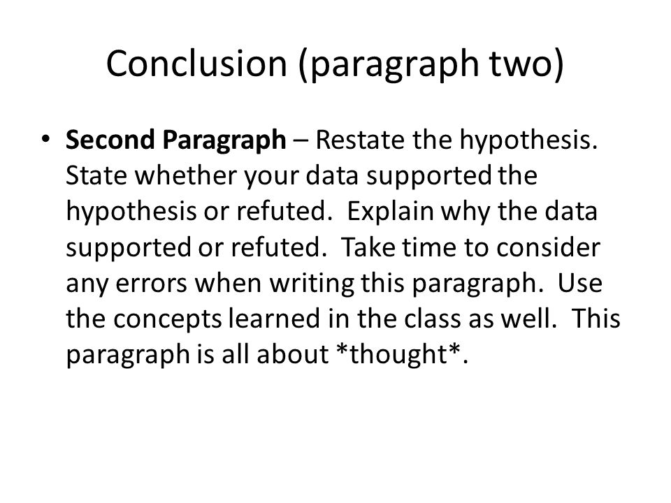 Conclusion (paragraph two)