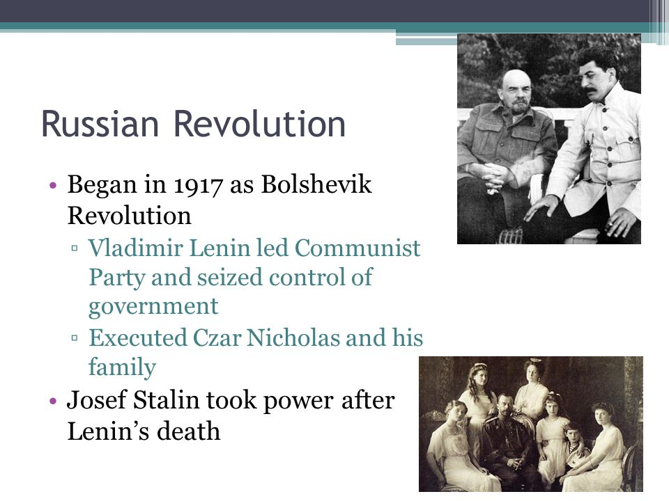 Russian Revolution Began in 1917 as Bolshevik Revolution