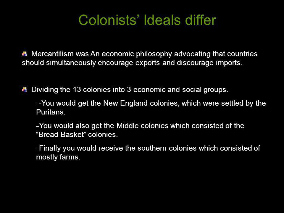 Colonists' Ideals differ