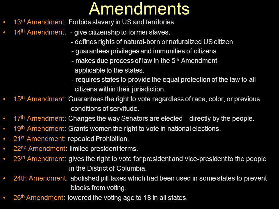 Amendments 13rd Amendment: Forbids slavery in US and territories