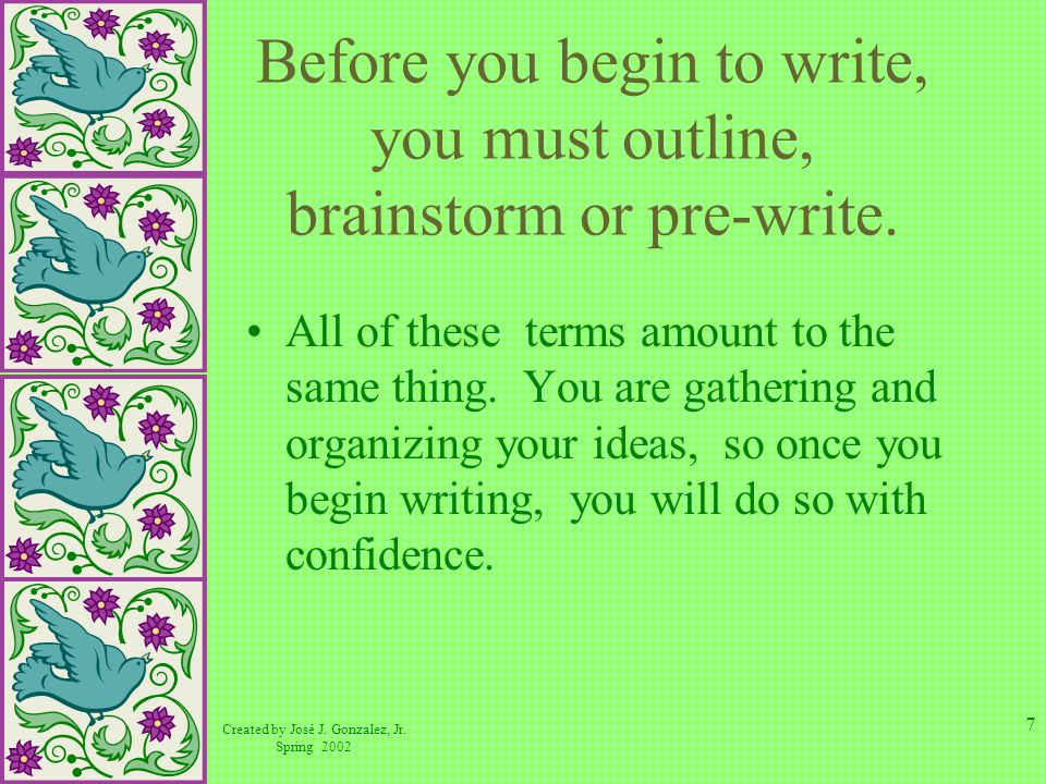 Before you begin to write, you must outline, brainstorm or pre-write.