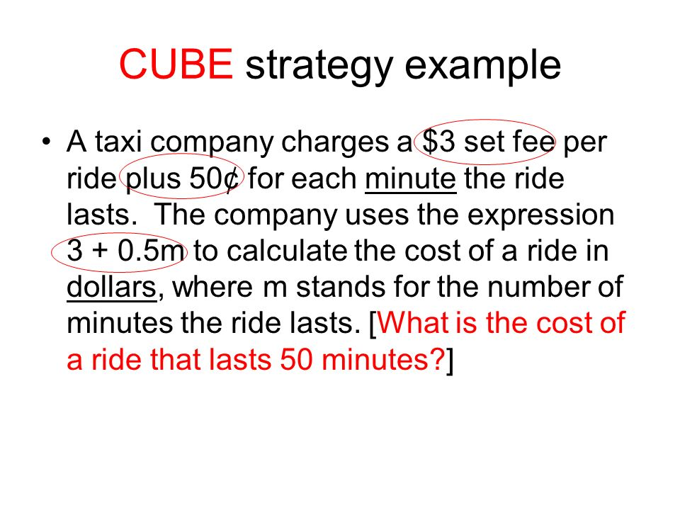CUBE strategy example