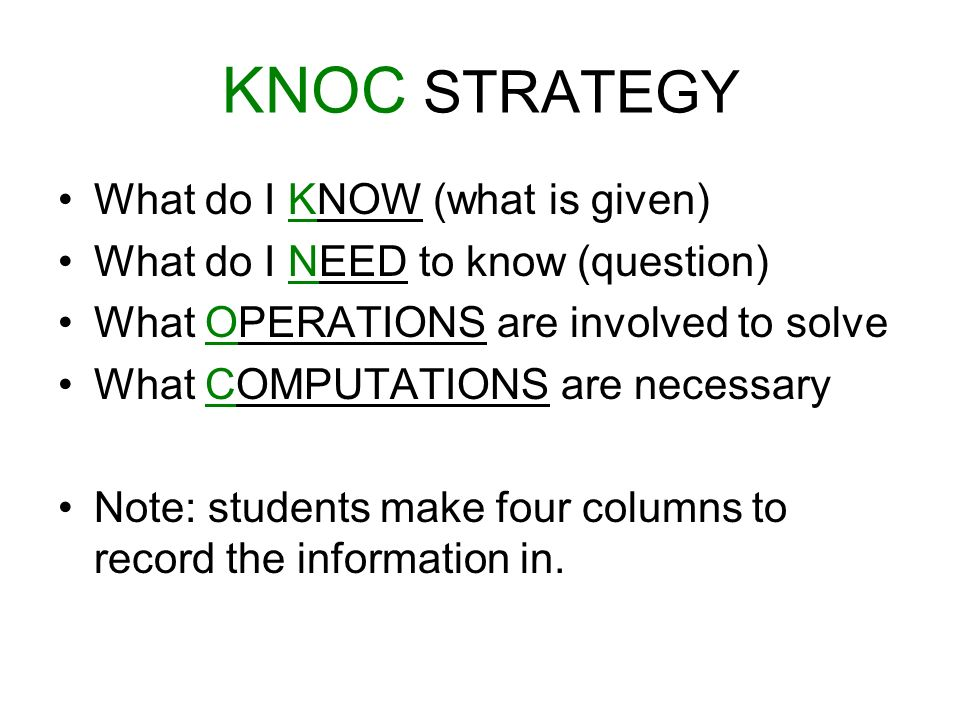 KNOC STRATEGY What do I KNOW (what is given)