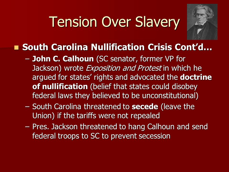 Tension Over Slavery South Carolina Nullification Crisis Cont'd…