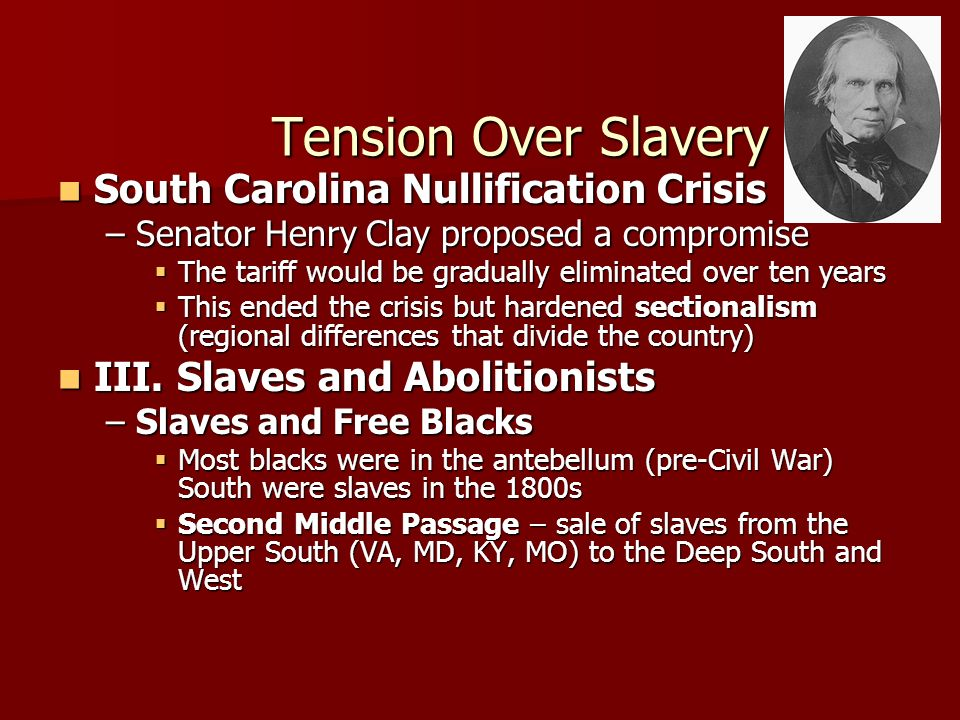 Tension Over Slavery South Carolina Nullification Crisis