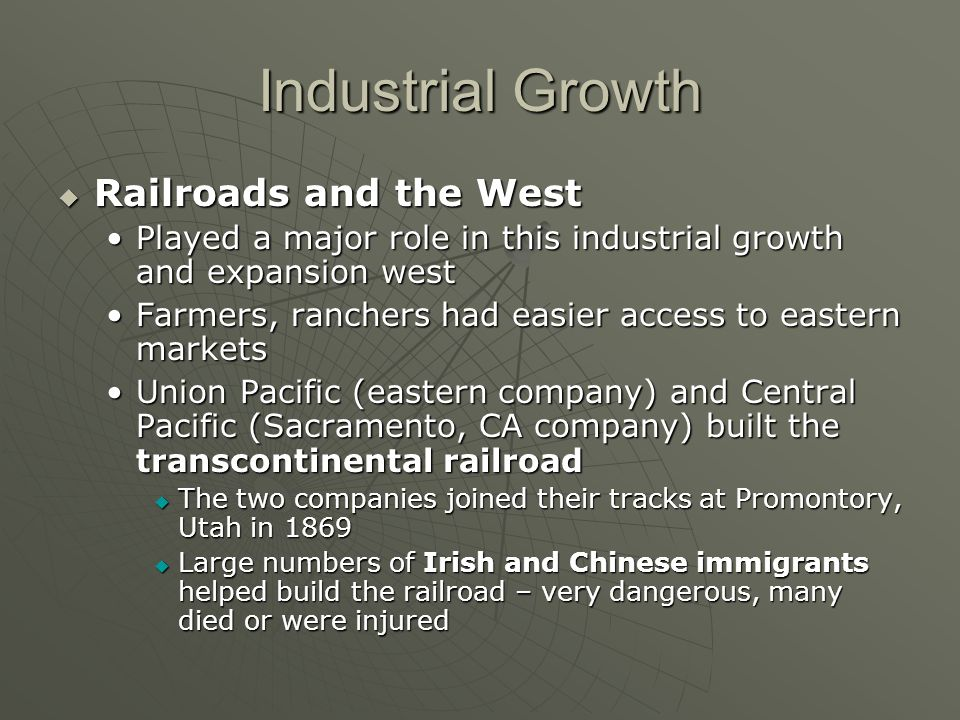 Industrial Growth Railroads and the West