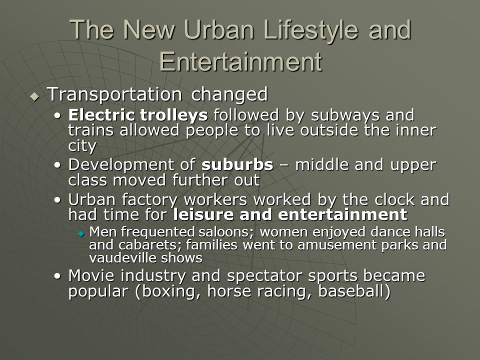 The New Urban Lifestyle and Entertainment