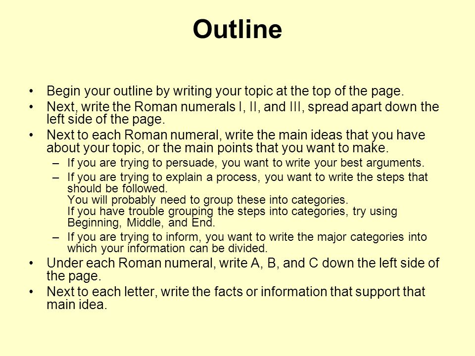 Outline Begin your outline by writing your topic at the top of the page.