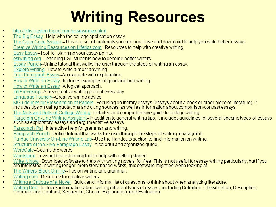 Writing Resources http://lklivingston.tripod.com/essay/index.html