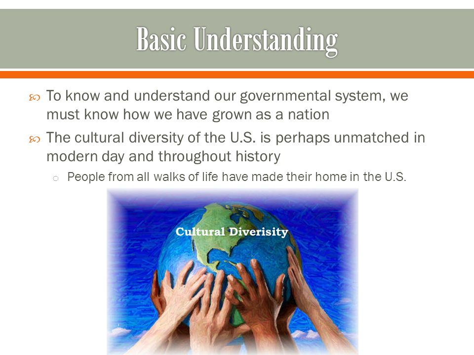 Basic Understanding To know and understand our governmental system, we must know how we have grown as a nation.