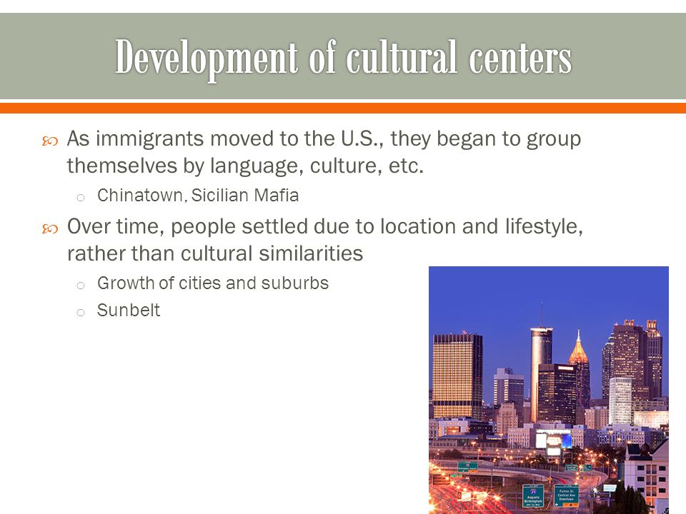 Development of cultural centers
