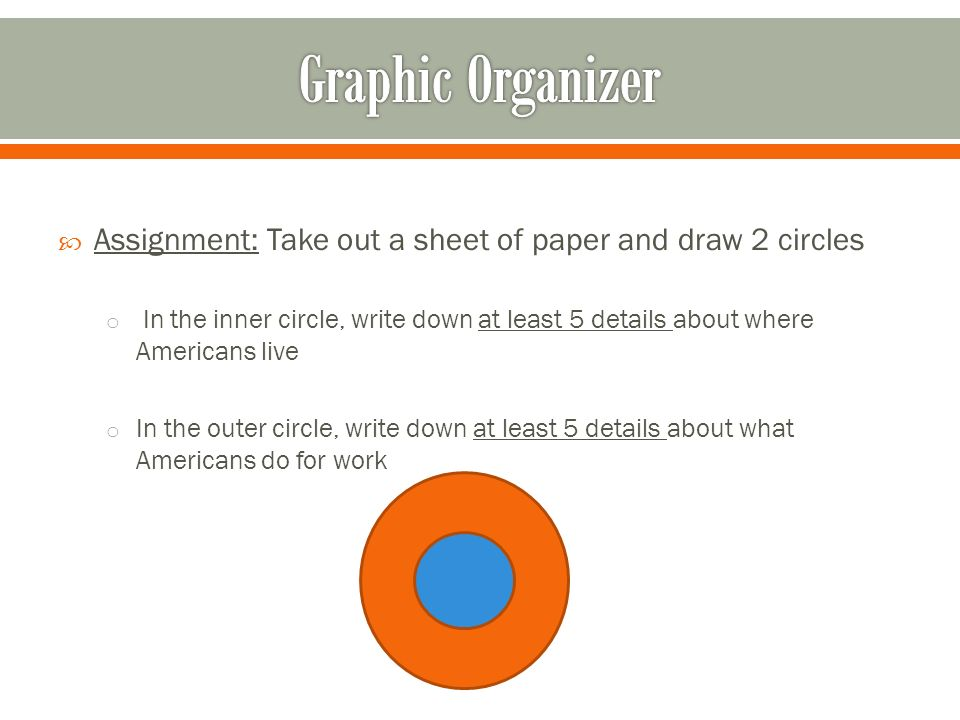 Graphic Organizer Assignment: Take out a sheet of paper and draw 2 circles.