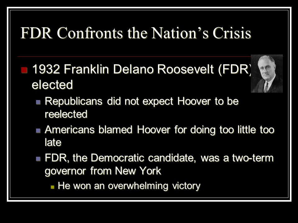 FDR Confronts the Nation's Crisis