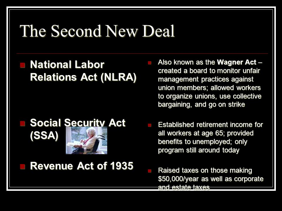 The Second New Deal National Labor Relations Act (NLRA)