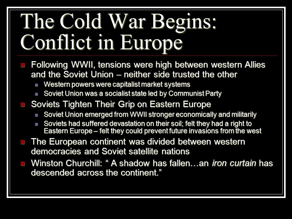 The Cold War Begins: Conflict in Europe
