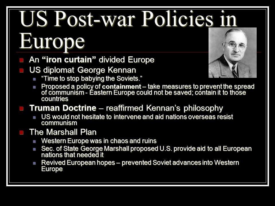 US Post-war Policies in Europe