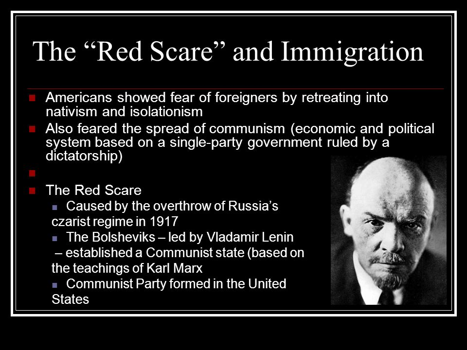 The Red Scare and Immigration