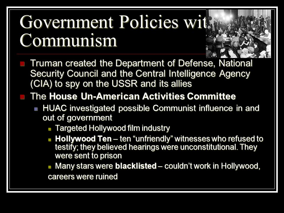 Government Policies with Communism
