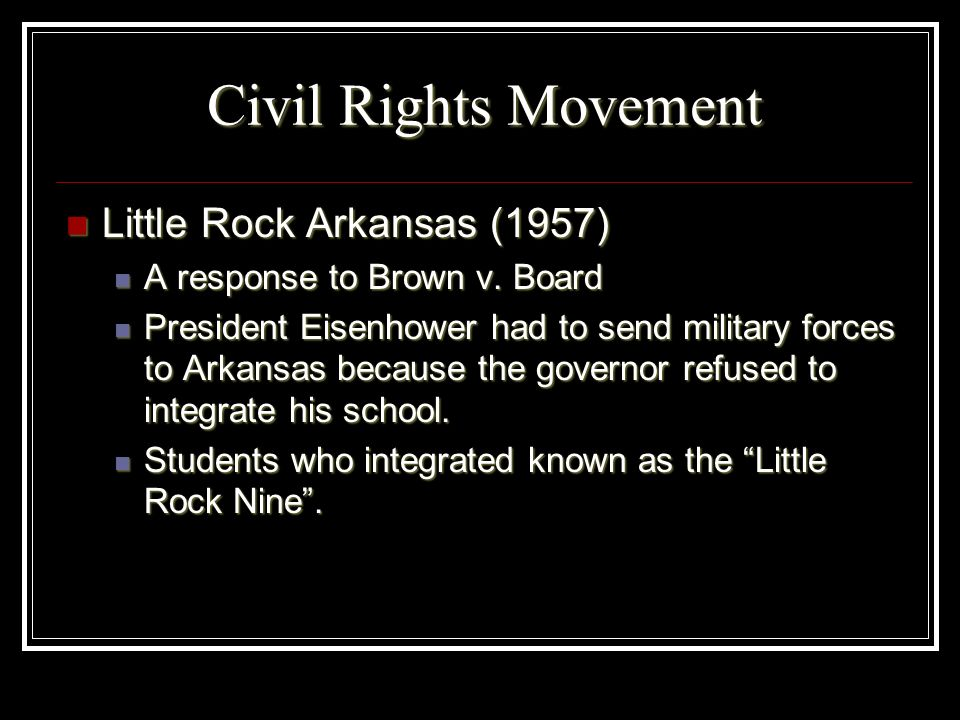 Civil Rights Movement Little Rock Arkansas (1957)