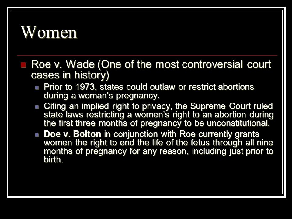 Women Roe v. Wade (One of the most controversial court cases in history)