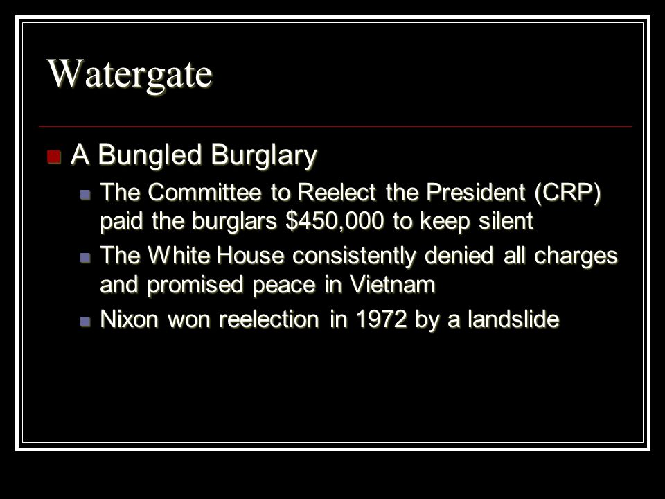 Watergate A Bungled Burglary
