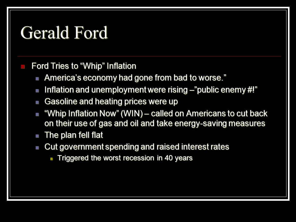 Gerald Ford Ford Tries to Whip Inflation