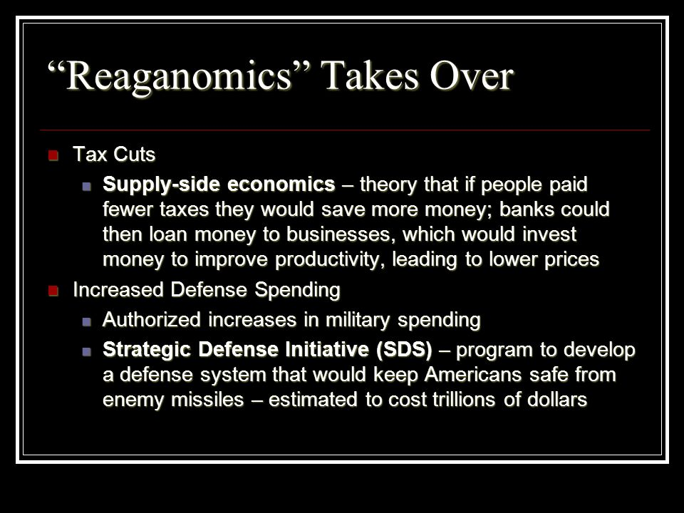 Reaganomics Takes Over