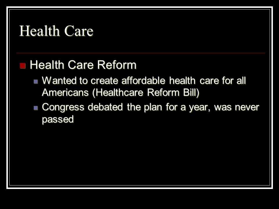 Health Care Health Care Reform