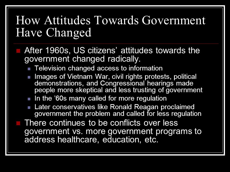 How Attitudes Towards Government Have Changed