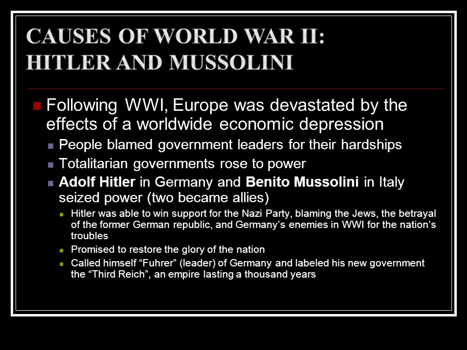Causes of World War II: Hitler and Mussolini