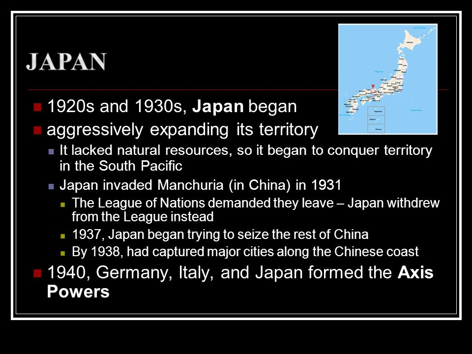 Japan 1920s and 1930s, Japan began