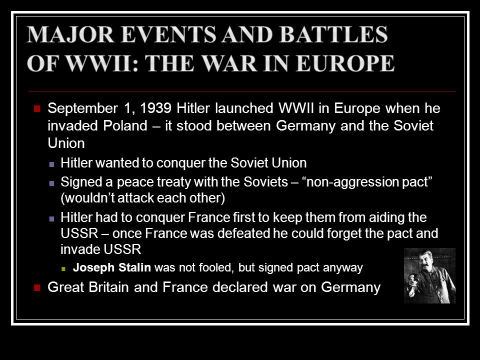 Major Events and Battles of WWII: The War in Europe