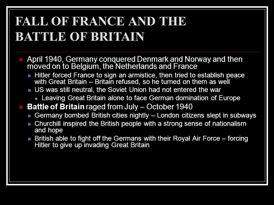 Fall of France and the Battle of Britain