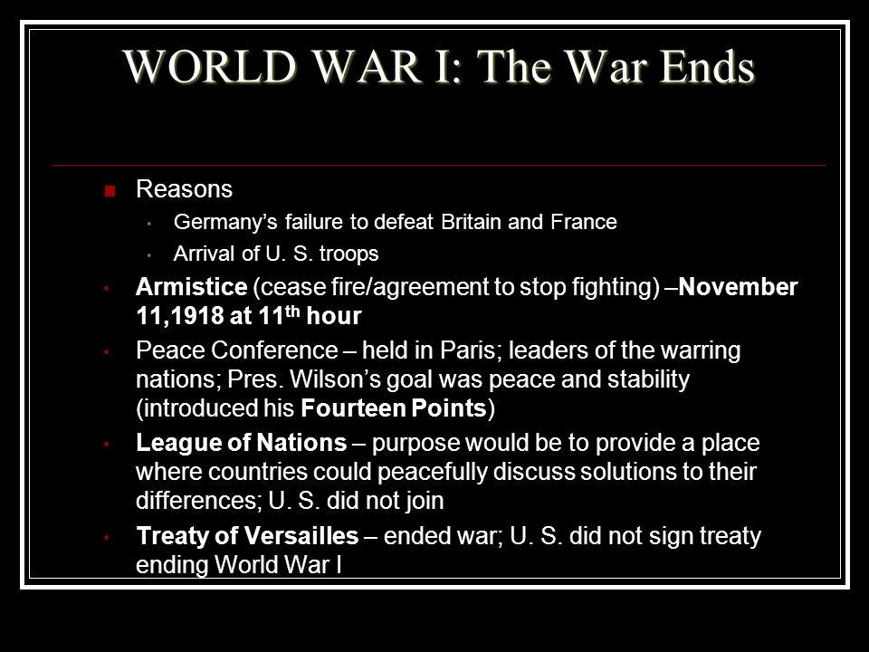 WORLD WAR I: The War Ends