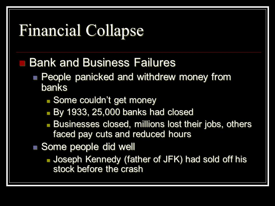 Financial Collapse Bank and Business Failures