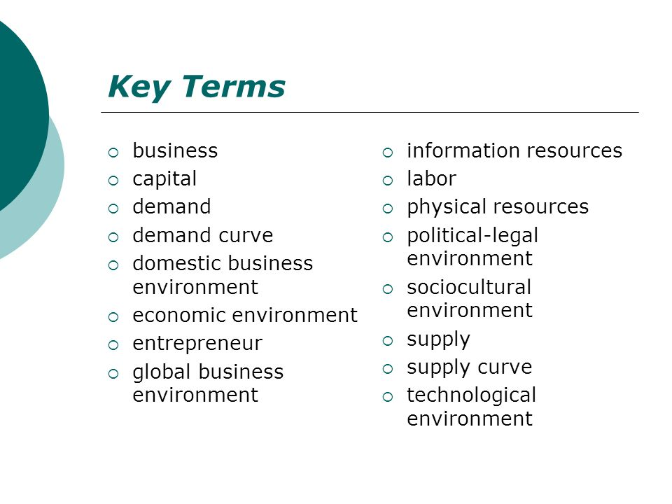 Key Terms business capital demand demand curve