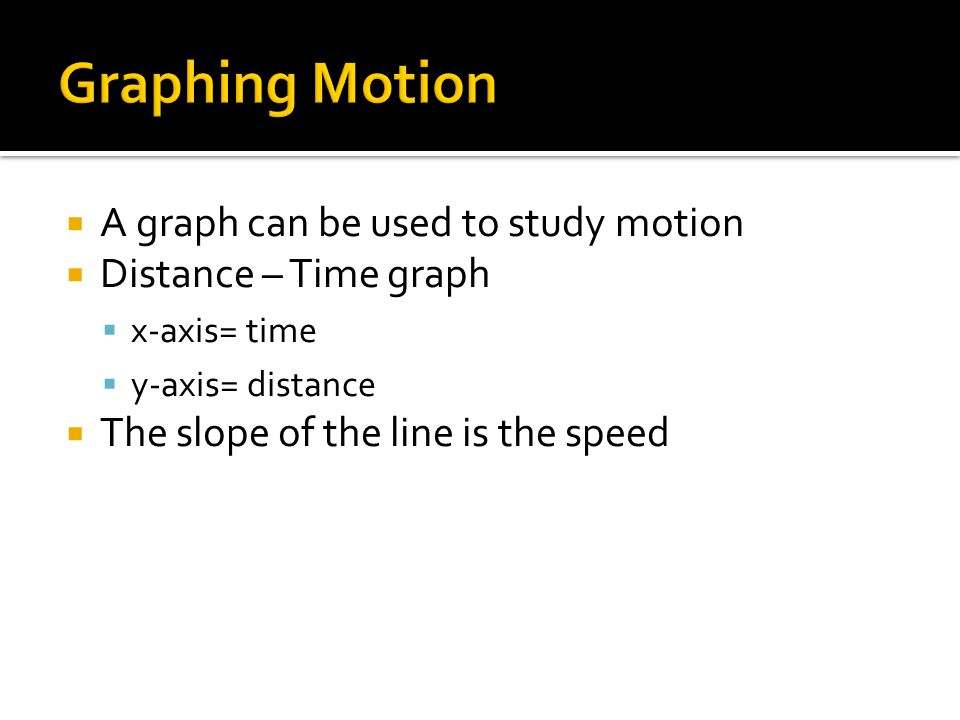 Graphing Motion A graph can be used to study motion
