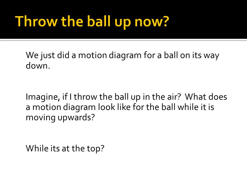 Throw the ball up now We just did a motion diagram for a ball on its way down.