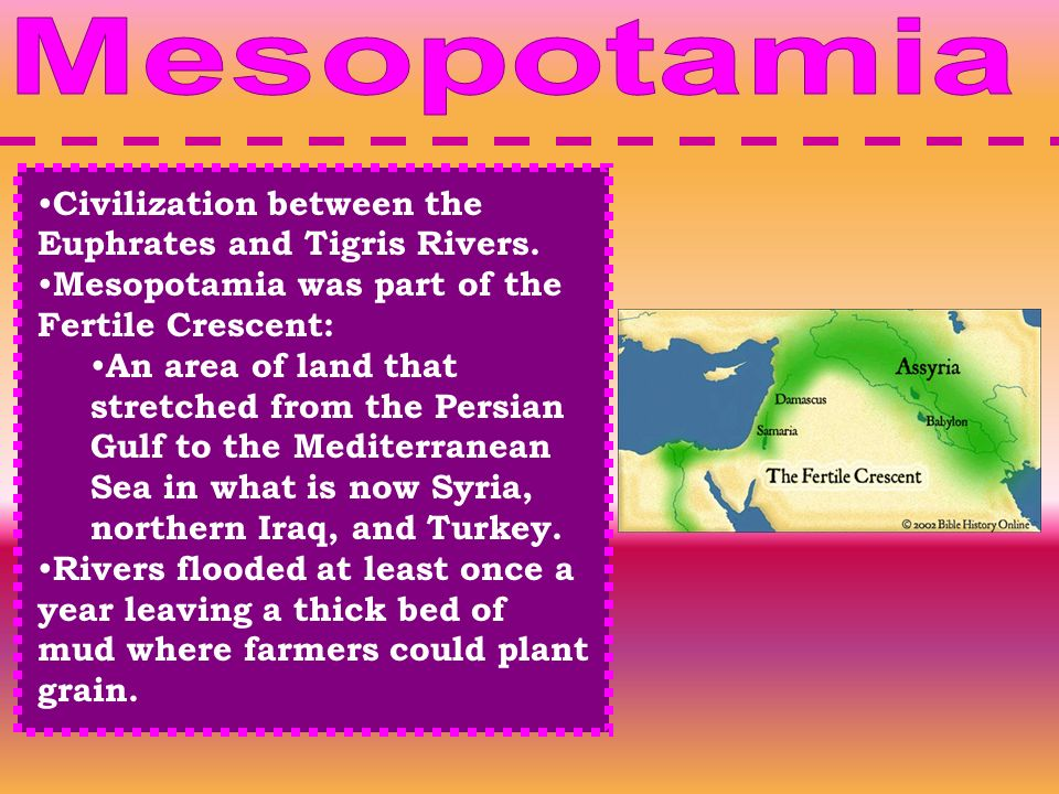 Mesopotamia Civilization between the Euphrates and Tigris Rivers.