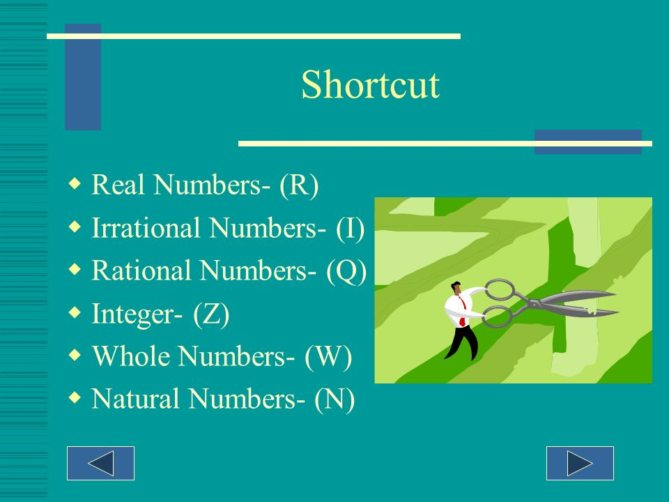 Shortcut Real Numbers- (R) Irrational Numbers- (I)
