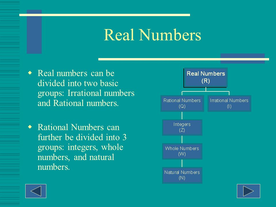 Real Numbers Real numbers can be divided into two basic groups: Irrational numbers and Rational numbers.