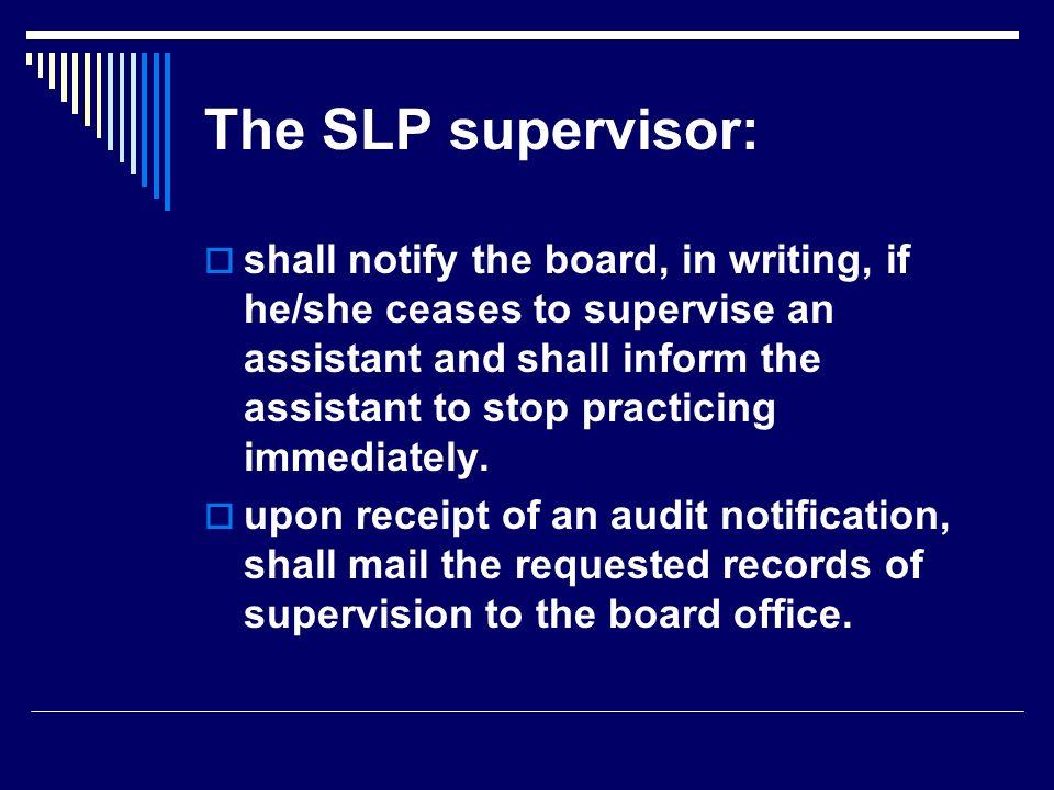 The SLP supervisor: