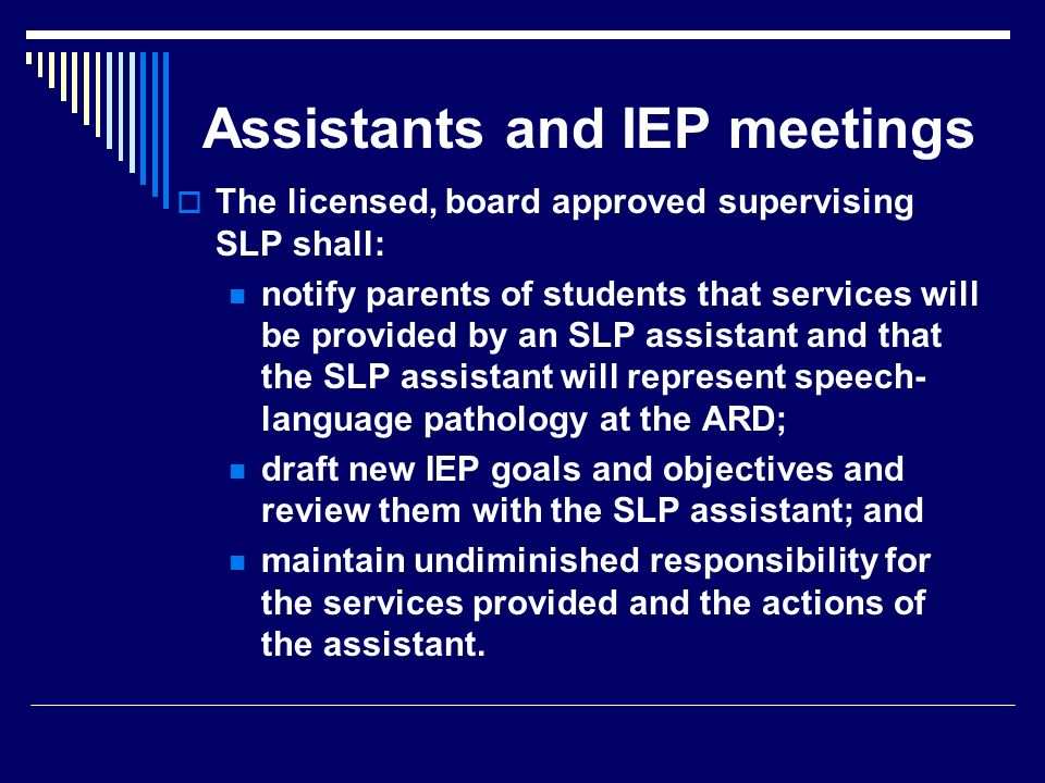 Assistants and IEP meetings