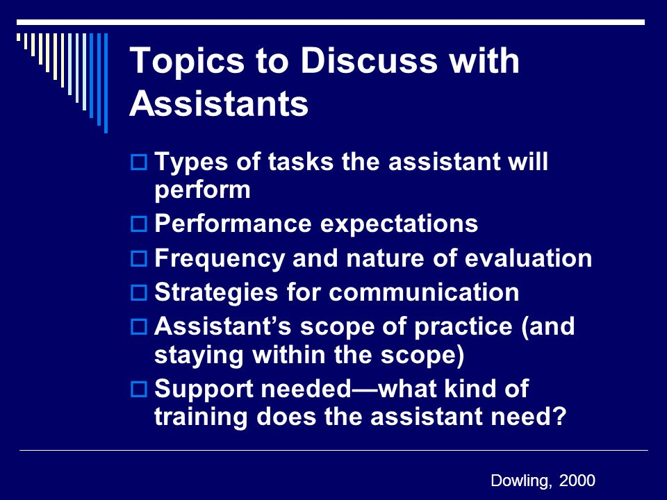 Topics to Discuss with Assistants